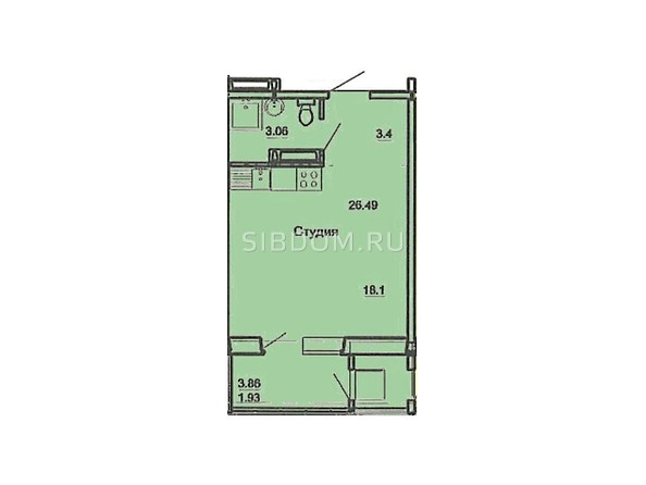 Планировка однокомнатной квартиры 26,49 кв.м
