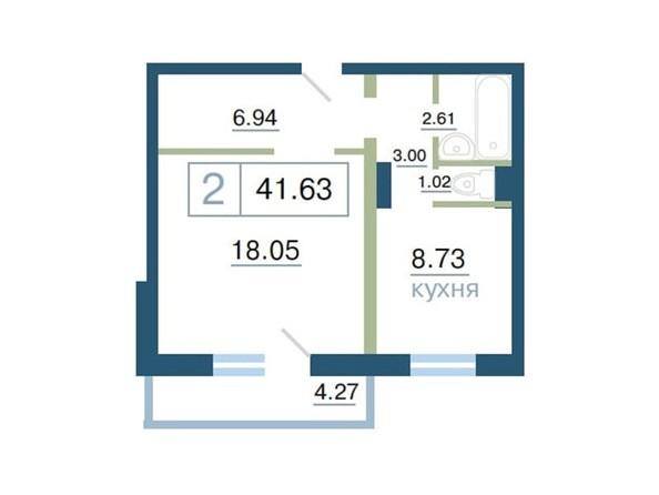 Планировка 2-комн 41,63 м²
