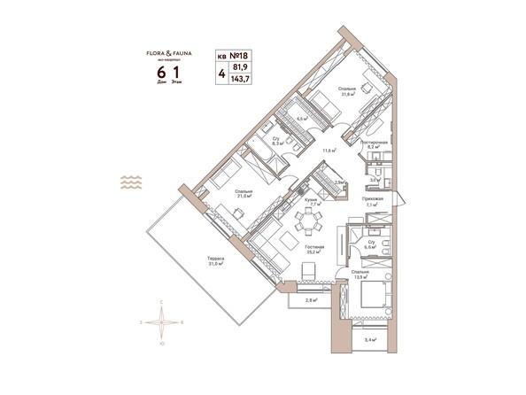 Планировки Жилой комплекс Эко-квартал Flora&Fauna (Флора и Фауна), блок А - 4-комнатная 143,7 кв.м