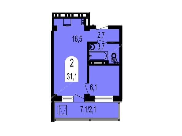 Планировки Жилой комплекс ТИХИЕ ЗОРИ, дом 1 (Красстрой) - Планировка двухкомнатной квартиры 31,1 кв.м