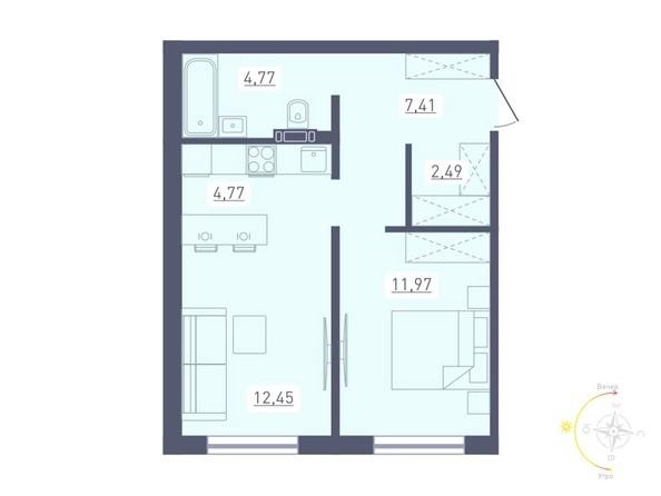 Планировка 2-комн 43,86 м²