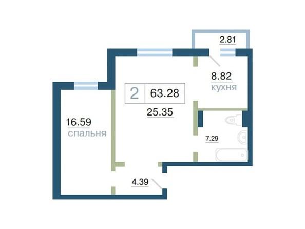 Планировка 2-комн 0 м²