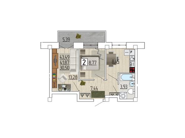 Планировка 2-комн 43,49 м²