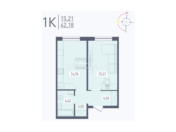 Планировка 1-комн 42,18 м²