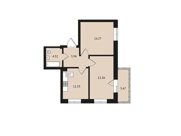 Планировки Жилой комплекс ВДОХНОВЕНИЕ - Планировка двухкомнатной квартиры 59,13 кв.м