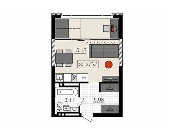 Планировки НОВЫЙ КВАРТАЛ, корпус 1 - 1-комнатная 30,17 кв.м.