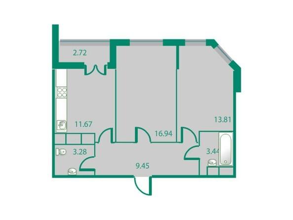 Планировки Жилой комплекс ИЗУМРУДНЫЙ БЕРЕГ, дом 1.2  - Планировка двухкомнатной квартиры 58,9 кв.м