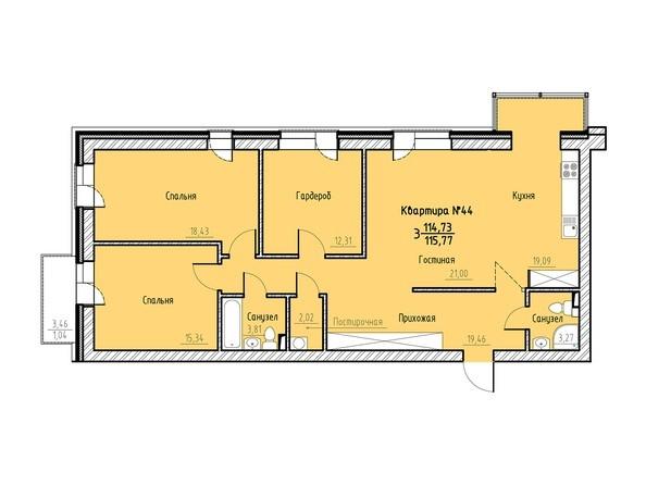 Планировка 3-комн 115,77 м²