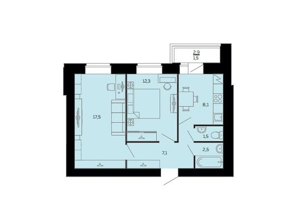 Планировки Жилой комплекс МАРС, дом 10 - Планировка двухкомнатной квартиры 50,5 кв.м