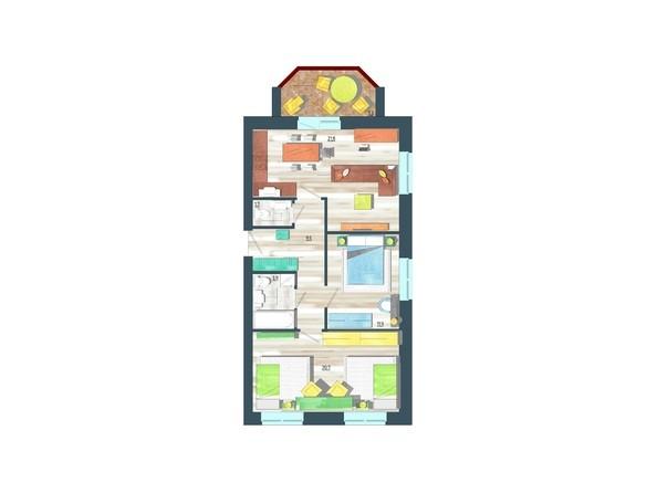 Планировки Жилой комплекс ЖИВЁМ эко-район, 10 квартал, дом 1 - Планировка трехкомнатной квартиры 73,1 кв.м