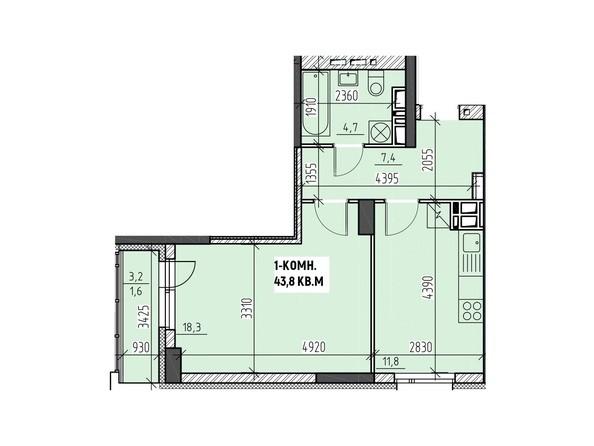 Планировки Жилой комплекс НА ВЫСОТЕ, 2 этап - Планировка однокомнатной квартиры 43,8 кв.м
