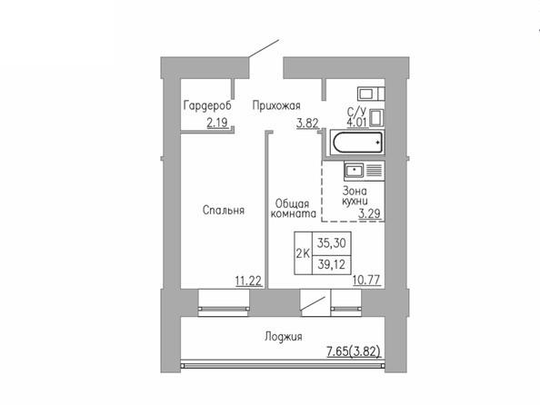 2-комнатная 35 - 40 кв.м