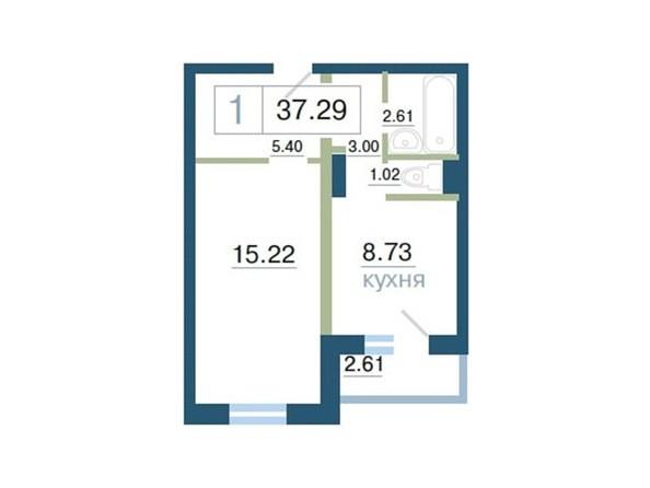Планировка 1-комн 37 - 38 м²