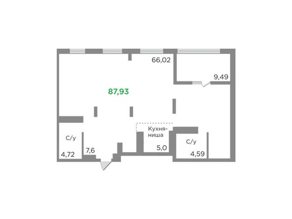 Планировки Жилой комплекс ЯСНЫЙ БЕРЕГ, дом 12 - Планировка однокомнатной квартиры 87,93 кв.м