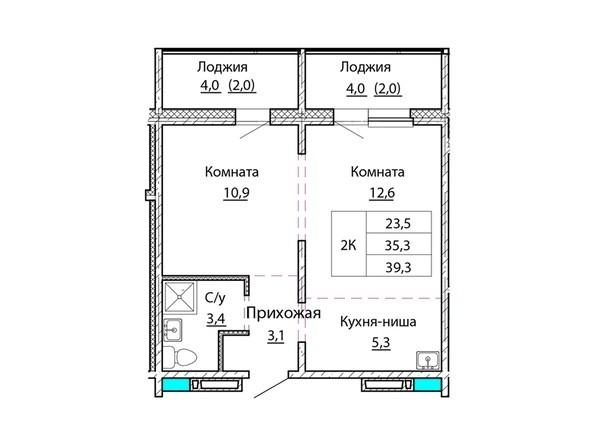 Планировки Жилой комплекс КОСМОНАВТЫ, Б/С 2 - Планировка двухкомнатной квартиры 39,3 кв.м