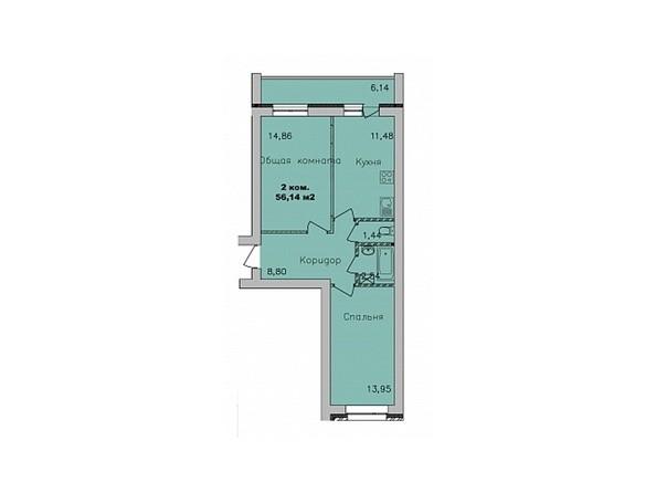 Планировки Жилой комплекс ДИВНОГОРСКИЙ, 17 - 2-комнатная 56,14 кв.м