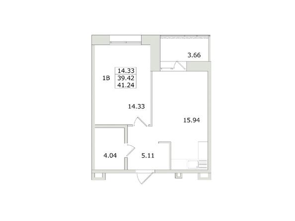 1-комнатная 41,24 кв.м