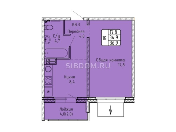 Планировка 1-комн 36,9 м²