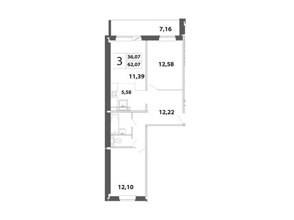 3-комнатная 62.07 - 63.39 кв.м
