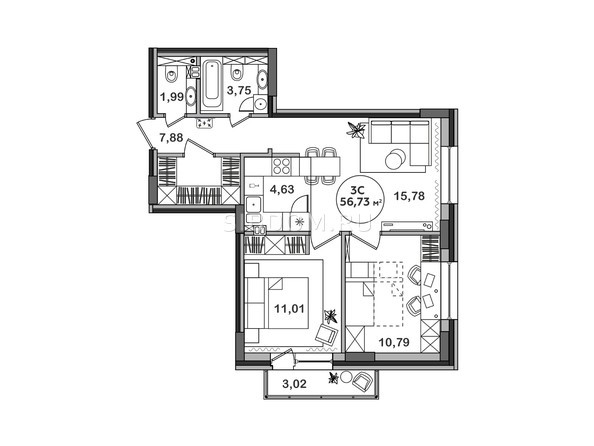 Планировка 3-комн 56,73 м²