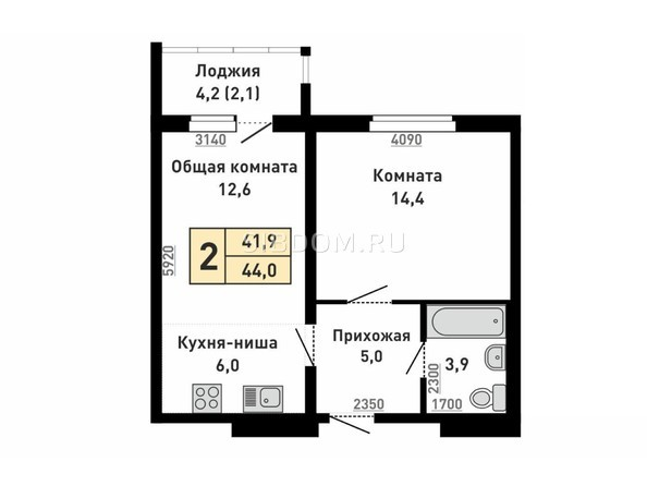 Планировка 2-комн 44 м²