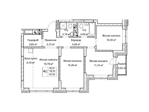 Планировки Жилой комплекс ГУДИМОВ - Планировка четырехкомнатной квартиры 79,7 кв.м