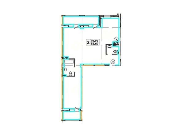 Планировка 2-комнатной квартиры 85,69 кв. м