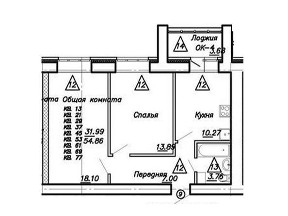 2-комнатная 54.86 кв.м