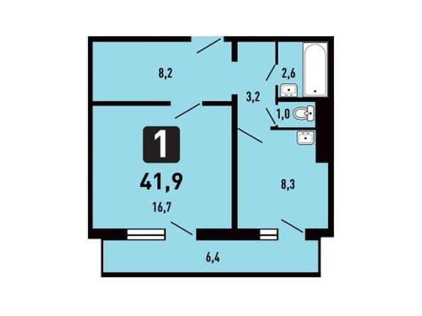 Планировка 1-комн 41,9 м²