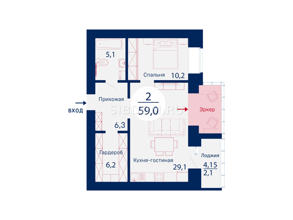 Планировки Микрорайон SCANDIS (Скандис), дом 2 - Планировка двухкомнатной квартиры 59 кв.м