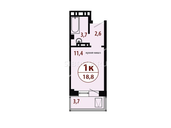 Планировки Жилой комплекс СЕРЕБРЯНЫЙ, квр 1, дом 1 - Секция 2. Планировка однокомнатной квартиры 18,8 кв.м