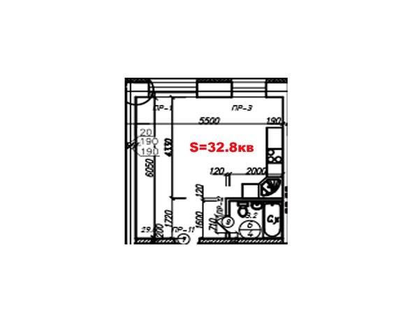 Планировки Жилой комплекс ПРОВАНС  - Планировка однокомнатной квартиры 32,8 кв.м