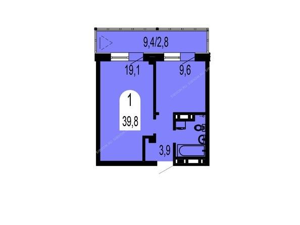 Планировки Жилой комплекс ТИХИЕ ЗОРИ, дом 1 (Красстрой) - Планировка однокомнатной квартиры 39,8 кв.м