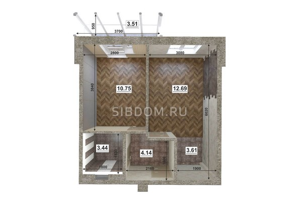 Планировки Жилой комплекс ЮГО-ЗАПАДНЫЙ, б/с 8-10 - Планировка двухкомнатной квартиры 35,38 кв.м