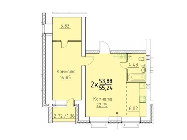 Планировка 2-комн 53,68, 55,24 м²