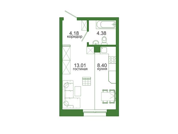 1-комнатная 29,97 кв.м