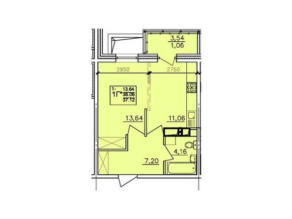 Планировки АЛЕКСАНДРИЯ, б/с 6 - 1-комнатная 37,12 кв.м