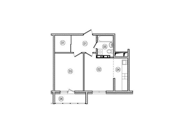 Планировки ВЕРХНИЙ БУЛЬВАР-2, дом 60, корпус 1 - 2-комнатная 44,3 кв.м