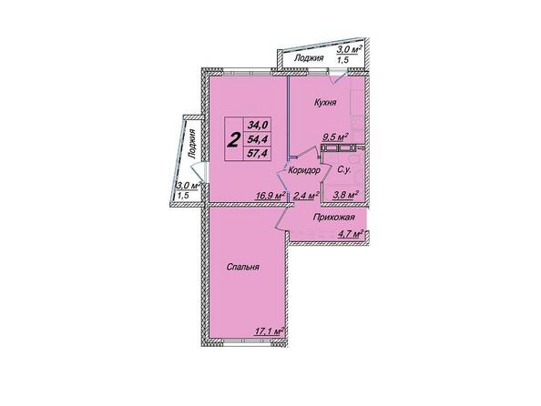 Планировки Жилой комплекс ЕВРОПЕЙСКИЕ ПРОВИНЦИИ, дом 23 - 2-комнатная 57,4 кв.м
