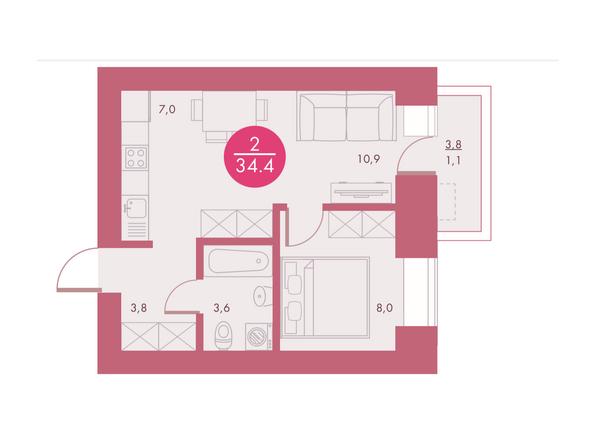Планировки Жилой комплекс Арбан SMART (Смарт) на Шахтеров, д 3 - Планировка двухкомнатной квартиры 34,4 кв.м