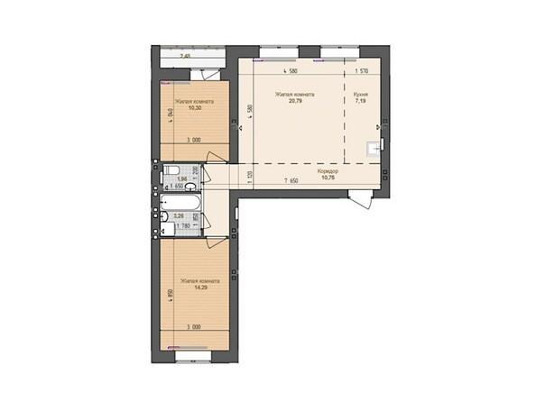 3-комнатная 68.5 - 68.54 кв.м
