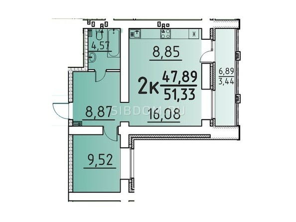 Планировка 2-комн 51,33 м²