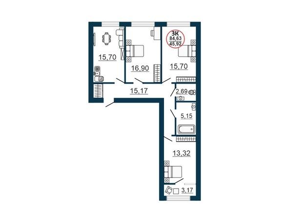 Планировка 3-комн 83,23 - 84,63 м²