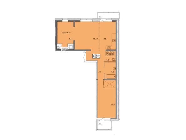 2-комнатная 69,79 кв.м