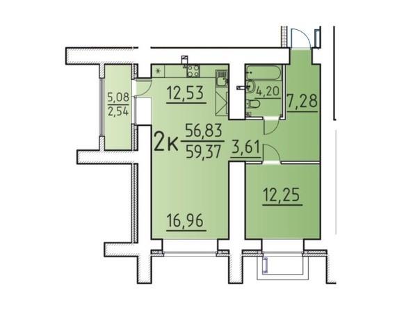 Планировка 2-комн 56,83, 59,37 м²