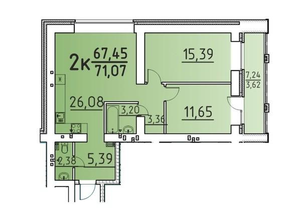 Планировка 2-комн 71,07 м²