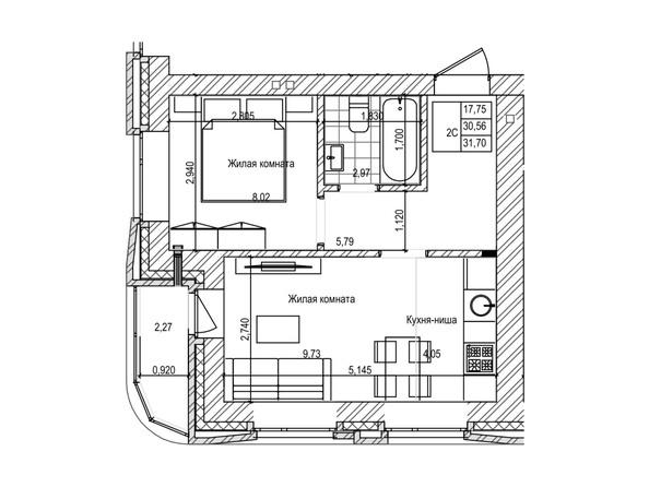 Планировка 2-комн 30,5, 30,9 м²