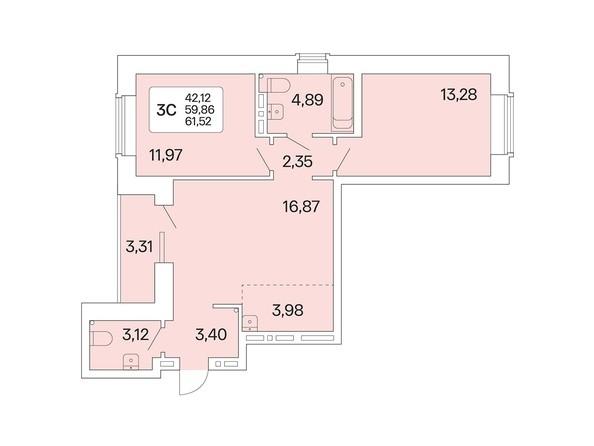 3-комнатная 61,52 кв.м