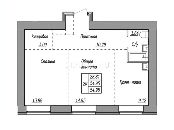 Планировка 2-комн 54,9, 54,95 м²