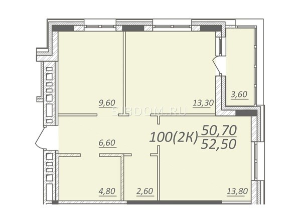Планировка 2-комнатной квартиры 52,5 кв.м
